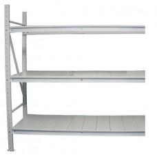 Нордика приставная секция грузового стеллажа 200х200х60 см белая 3 уровня полок