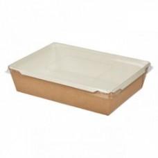 Коробка универсальная с пластиковой крышкой 500 мл бумага крафт