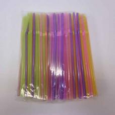 Трубочки коктейльные 0,5*21 см, 250 шт, с гофрой, цветные, флюоресцентные